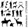 hunting silhouettes, vector, black on the white background - stock