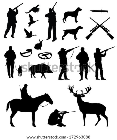 hunting silhouettes, vector, black on the white background - stock vector