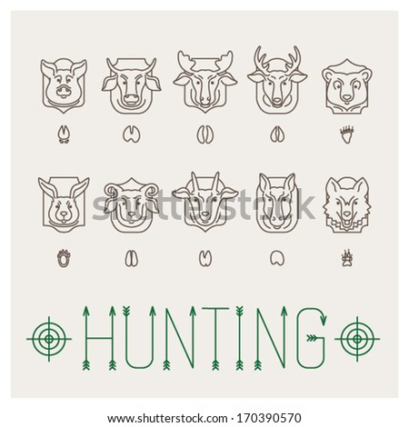 Hunting trophies icon set - stock vector