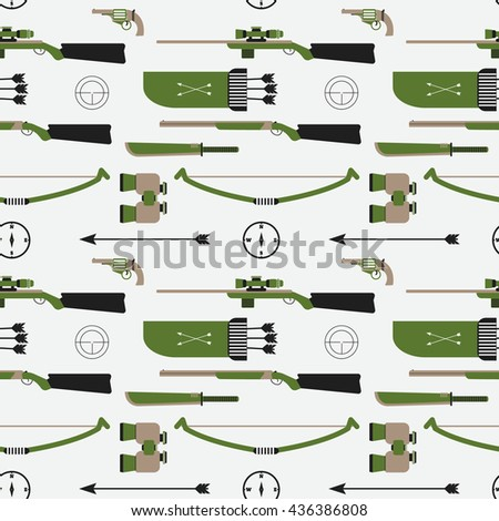 Hunting vector pattern. Flat style equipment. Isolated weapons and tools.