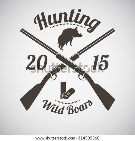 Hunting Vintage Emblem. Cross Hunting Gun With Ammo and Wild Boar Silhouette. Suitable for Advertising, Hunt Equipment, Club And Other Use. Dark Brown Retro Style.  Vector Illustration.  - stock vector
