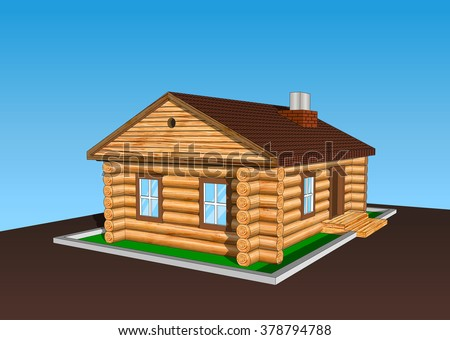 Hunting wood home build on the nature in forest right side view - stock vector