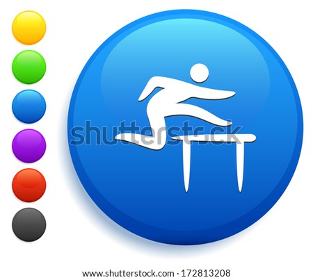 Hurdle Icon on Round Button Collection - stock vector