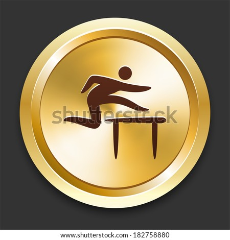 Hurdle Icons on Gold Button Collection - stock vector
