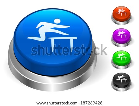 Hurdle Icons on Round Button Collection - stock vector