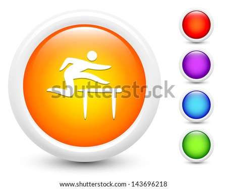 Hurdle Icons on Round Button Collection Original Illustration - stock vector
