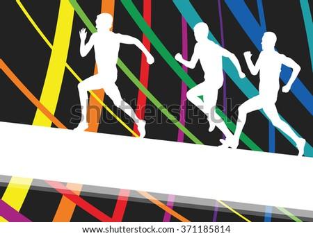 Hurdle race active and healthy men barrier running vector background winner overcoming difficulties concept graphic vector - stock vector