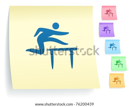 Hurdles Icon on Post It Note Paper Collection Original Illustration - stock vector