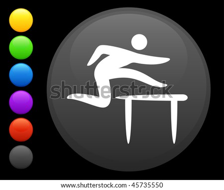 hurdles icon on round internet button original vector illustration 6 color versions included - stock vector