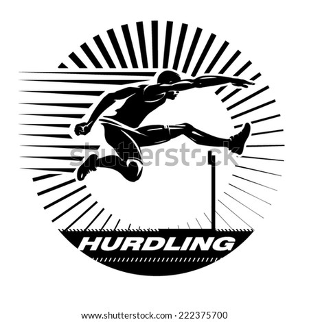 Hurdling. Vector illustration in the engraving style - stock vector