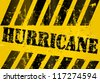 Hurricane and storm warning sign, grungy, vector eps 10 - stock vector