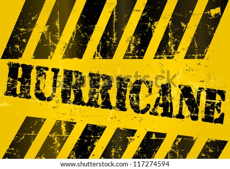 Hurricane and storm warning sign, grungy, vector eps 10