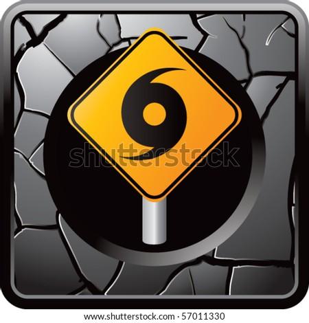 hurricane sign gray cracked web button - stock vector