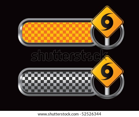 hurricane sign orange and black checkered tabs - stock vector