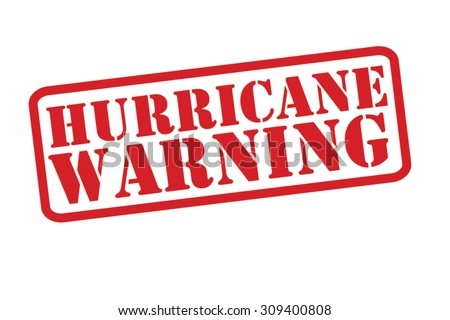 HURRICANE WARNING red Rubber Stamp vector over a white background. - stock vector