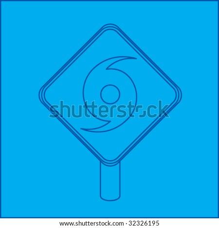 hurricane warning sign blueprint - stock vector