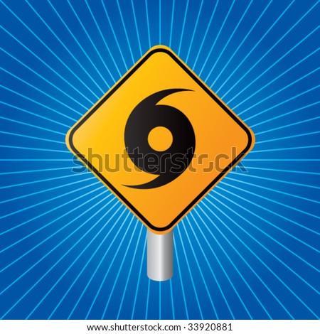 hurricane warning sign on blue starburst - stock vector