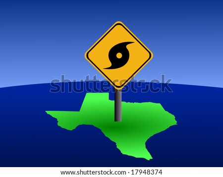hurricane warning sign on Texas map illustration - stock vector