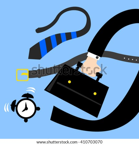 Hurry Business man in morning, vector illustration. - stock vector