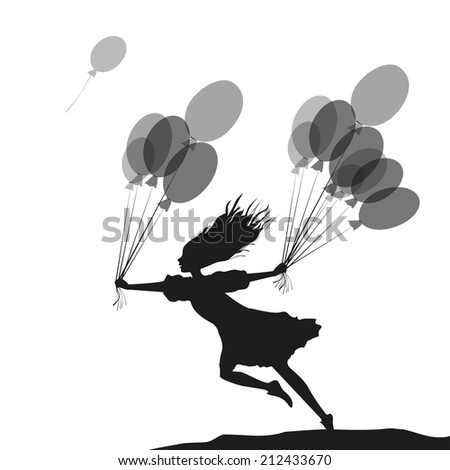hurry up to birthday, holding balloons, shadows, black, white background, girl with balloons - stock vector