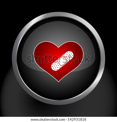 Hurt Heart Icon Symbol - stock vector
