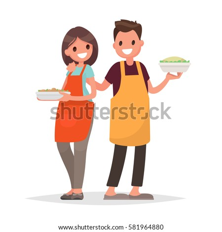 Husband and wife are preparing together on an isolated background. Vector illustration in a flat style