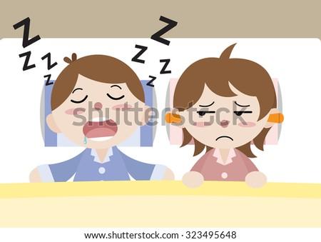 husband snooze disturb his wife sleeping cartoon vector - stock vector