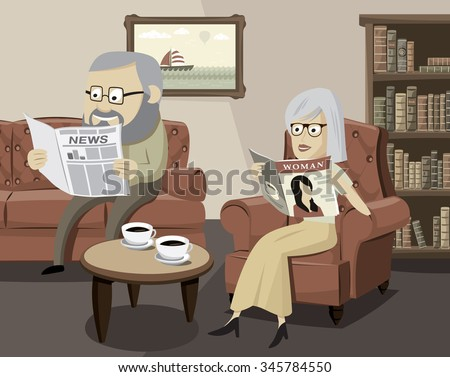 Husbands and their family life. Happy man and woman on the sofa in the living room. Simple cartoon vector illustration. Retro theme. - stock vector