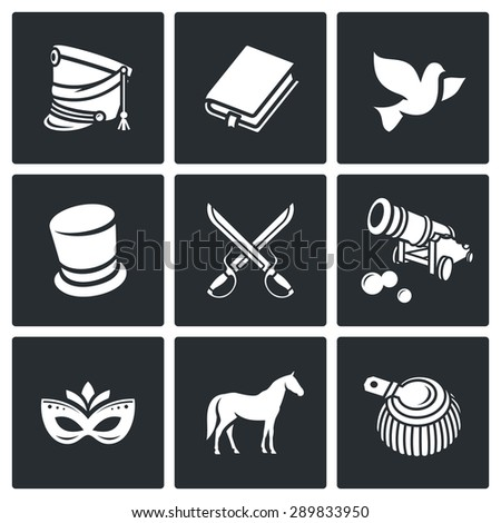 Hussars. The novel War and Peace icons set. Vector Illustration. Isolated Flat Icons collection on a black background for design - stock vector
