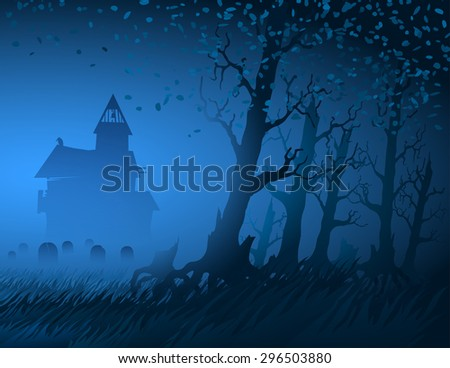 Hut with a cemetery in the night forest during Halloween; Eps10 - stock vector