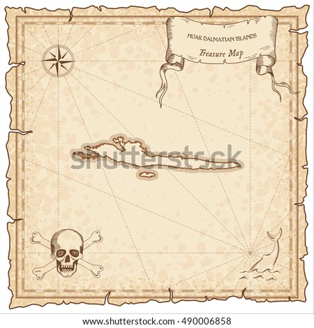 Hvar & Dalmatian Islands old pirate map. Sepia engraved parchment template of treasure island. Stylized manuscript on vintage paper.
