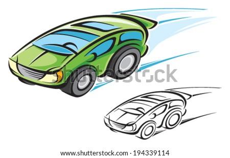 Hybrid car - stock vector