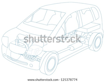 Hybrid vehicle, electric and petrol or gas driven - stock vector