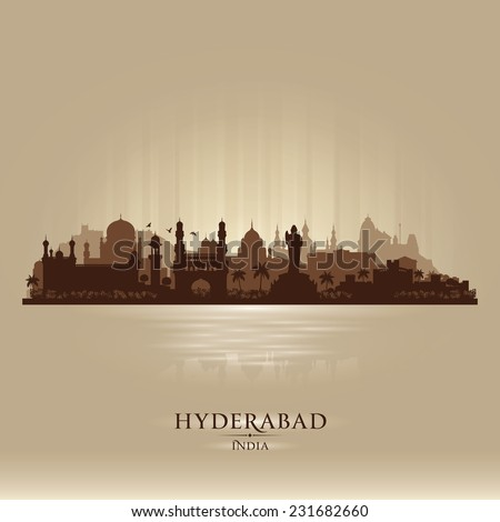 Hyderabad India city skyline vector silhouette illustration - stock vector