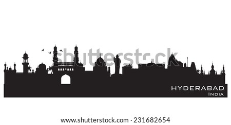 Hyderabad India skyline Detailed vector silhouette - stock vector