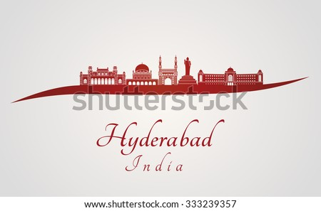 Hyderabad skyline in red and gray background in editable vector file