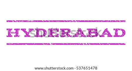 Hyderabad watermark stamp. Text caption between horizontal parallel lines with grunge design style. Rubber seal stamp with dirty texture. Vector violet color ink imprint on a white background.