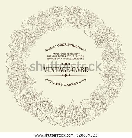 Hydrangea garland over white background with custom text. White card background. Vector illustration