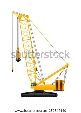 Hydraulic crawler crane vector illustration on white background - stock vector