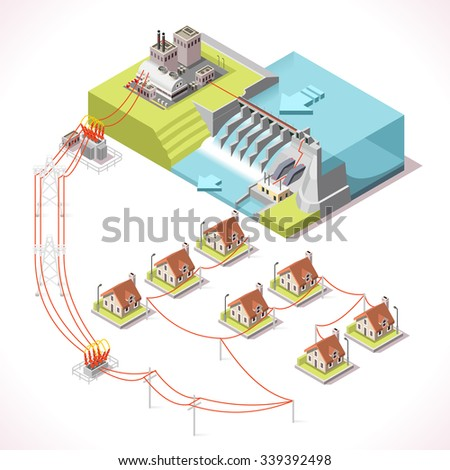 Hydroelectric Power Plant Factory Electric. Water Power Station Dam Electricity Grid  Energy Supply Chain. Energy Harvesting and Energy Saving Management Diagram 3d Illustration Isometric Building - stock vector