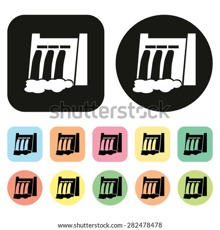 hydroelectric power station icon - stock vector