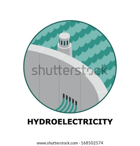 Hydroelectricity, Renewable Energy Sources - Part 3 (both circle and square version is available in the vector file)  - stock vector