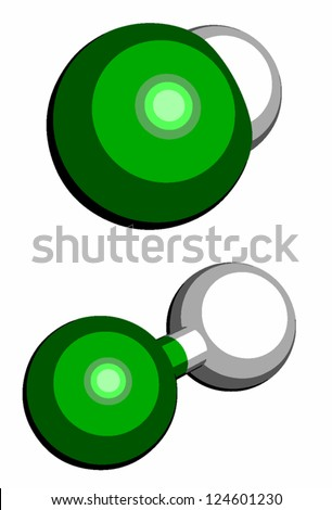 Hydrogen Chloride H Cl Molecule Chemical Structure Stock Vector