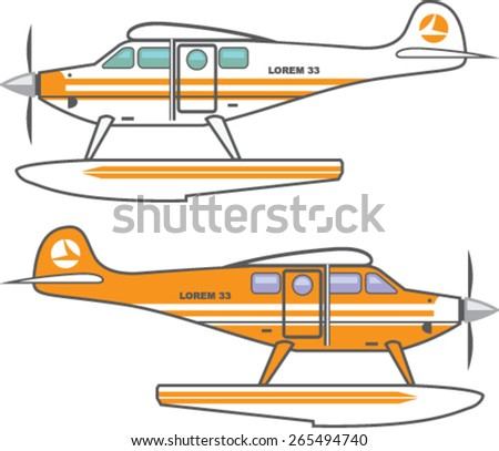 Hydroplane. Floating plane. vector - stock vector