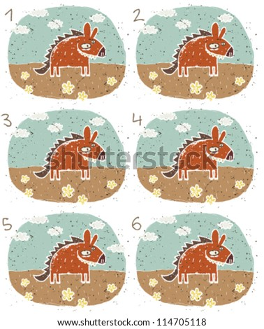 Hyena Puzzle ... Task: Find two images that are alike! (match pairs); Answer: No. 1 and 4. - stock vector