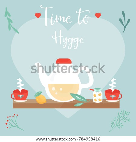 Hygge background cozy things elements danish stock vector 784958416 hygge background with cozy things and elements danish living concept greeting card template m4hsunfo