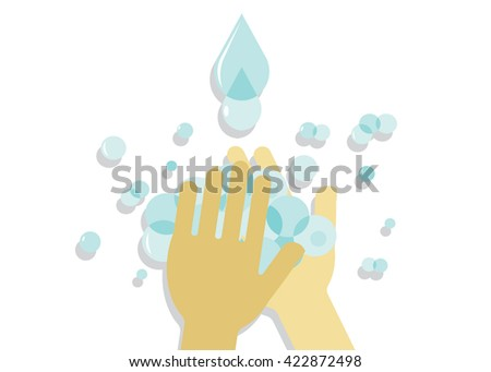 hygiene. Washing of hands, hands, soap bubbles and drops of blue water - stock vector