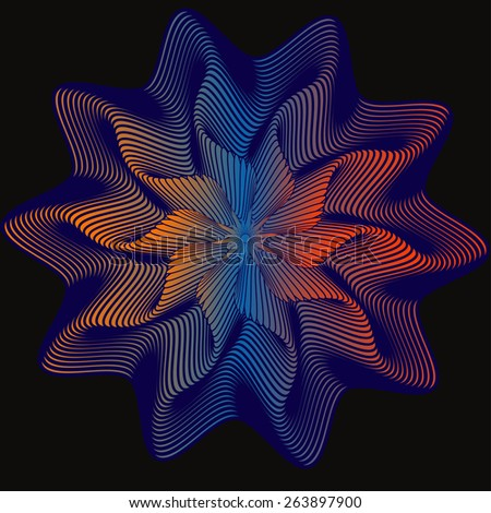 hypnoses, vortex pattern, energy star on black background, meditation, vector - stock vector