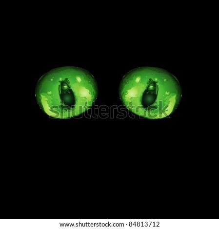 Hypnotic green cat eyes in darkness. Vector illustration - stock vector