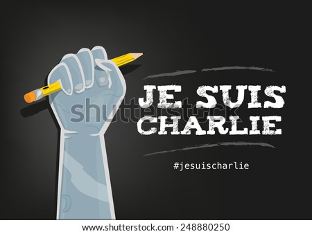 I Am Charlie Slogan in French with elements on Black Background - stock vector